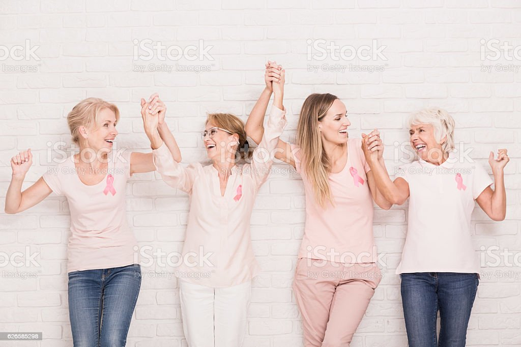 Positive cancer survivors stock photo