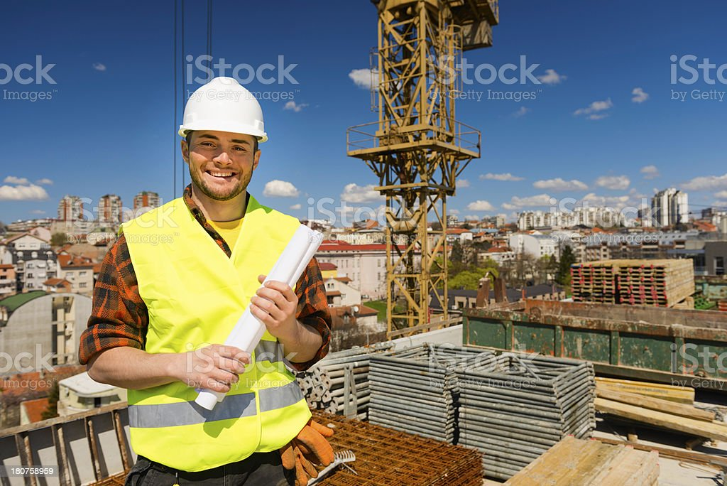 Positive construction worker royalty-free stock photo