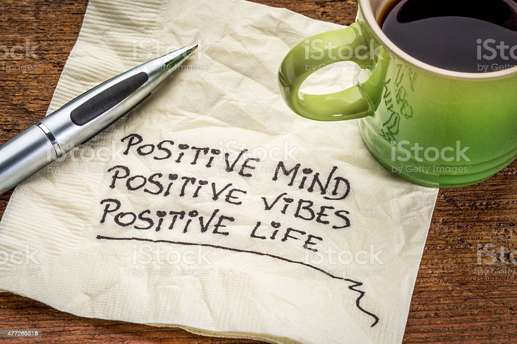 positive mind, vibes and life stock photo