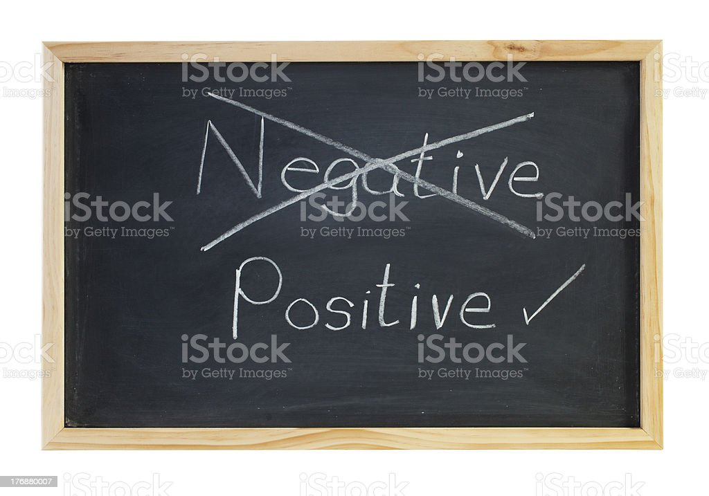 Positive Not Negative Blackboard stock photo