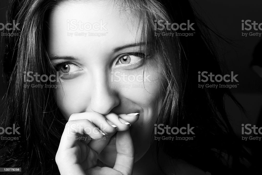 Positive portrait of a girl. stock photo