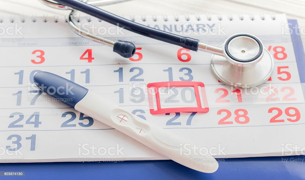 Positive pregnancy test with calendar top view stock photo