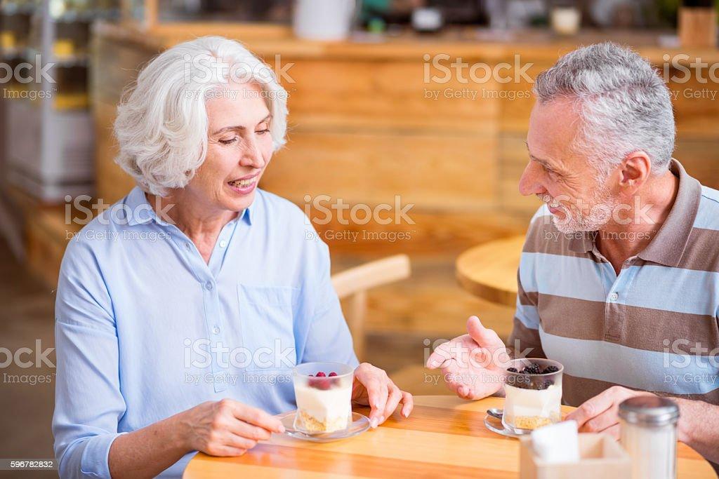 Positive senior couple having a meal stock photo