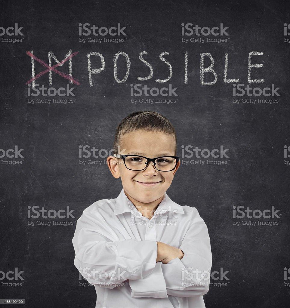 Positive thinking attitude concept. Confident smart boy stock photo