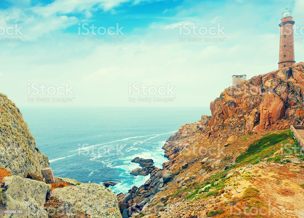 Positive toned photo with  lighthouse stock photo