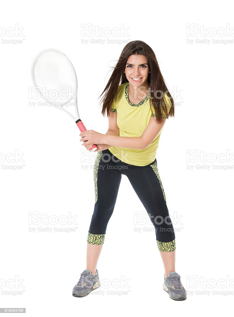 Positive Young Female Tennis Player Ready to Play stock photo