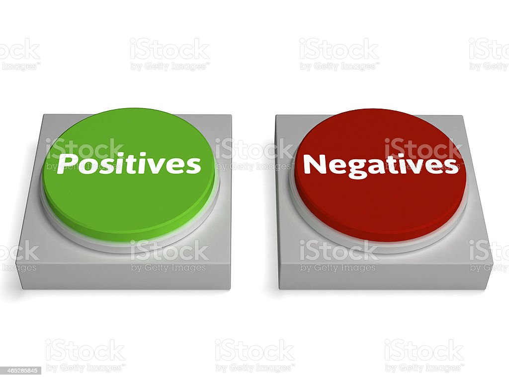 Positives Negatives Buttons Show Analysis Or Examine stock photo