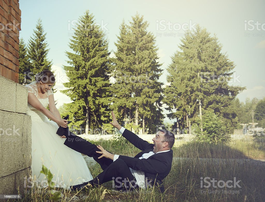 possesive bride royalty-free stock photo