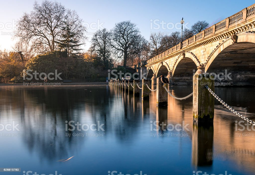 Post and chain fence at Hyde park London stock photo