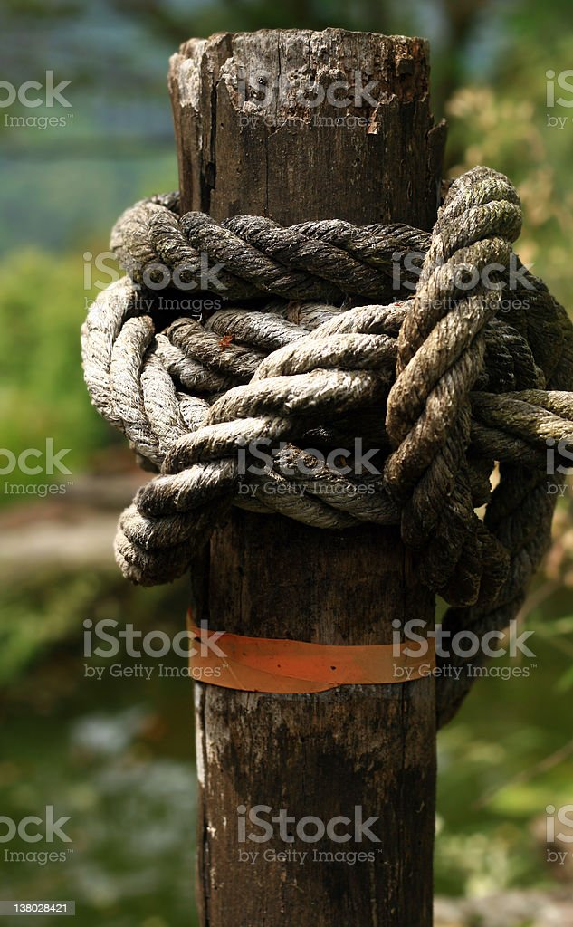 Post and rope hand rail royalty-free stock photo