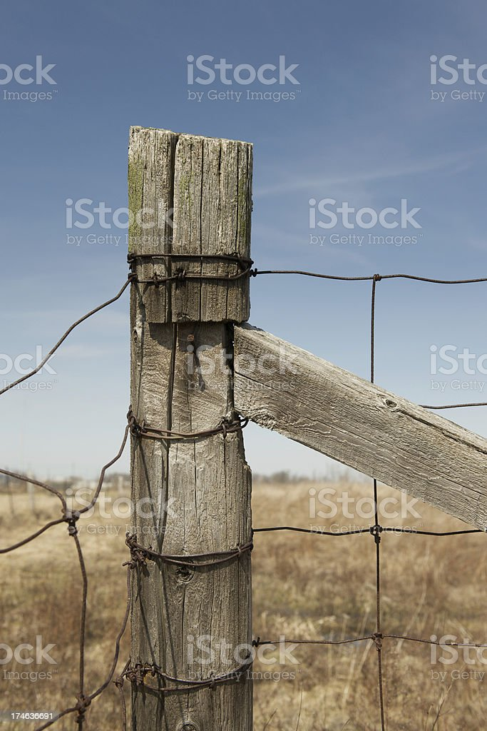 Post and rusty fence wire royalty-free stock photo
