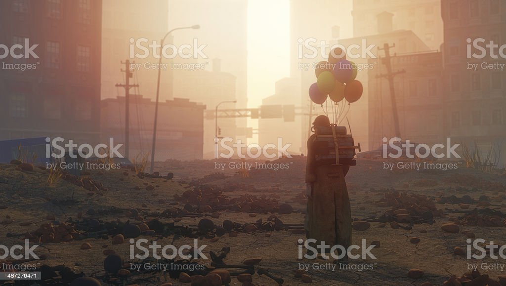 Post apocalypse ruined city with lone survivor on the street stock photo