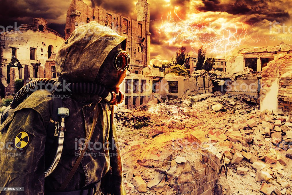 Post apocalypse sole survivor stock photo