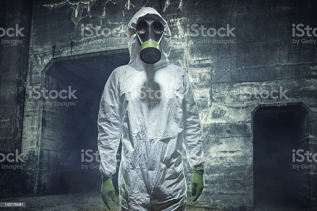 Post Apocalyptic Biological Wasteland Man stock photo