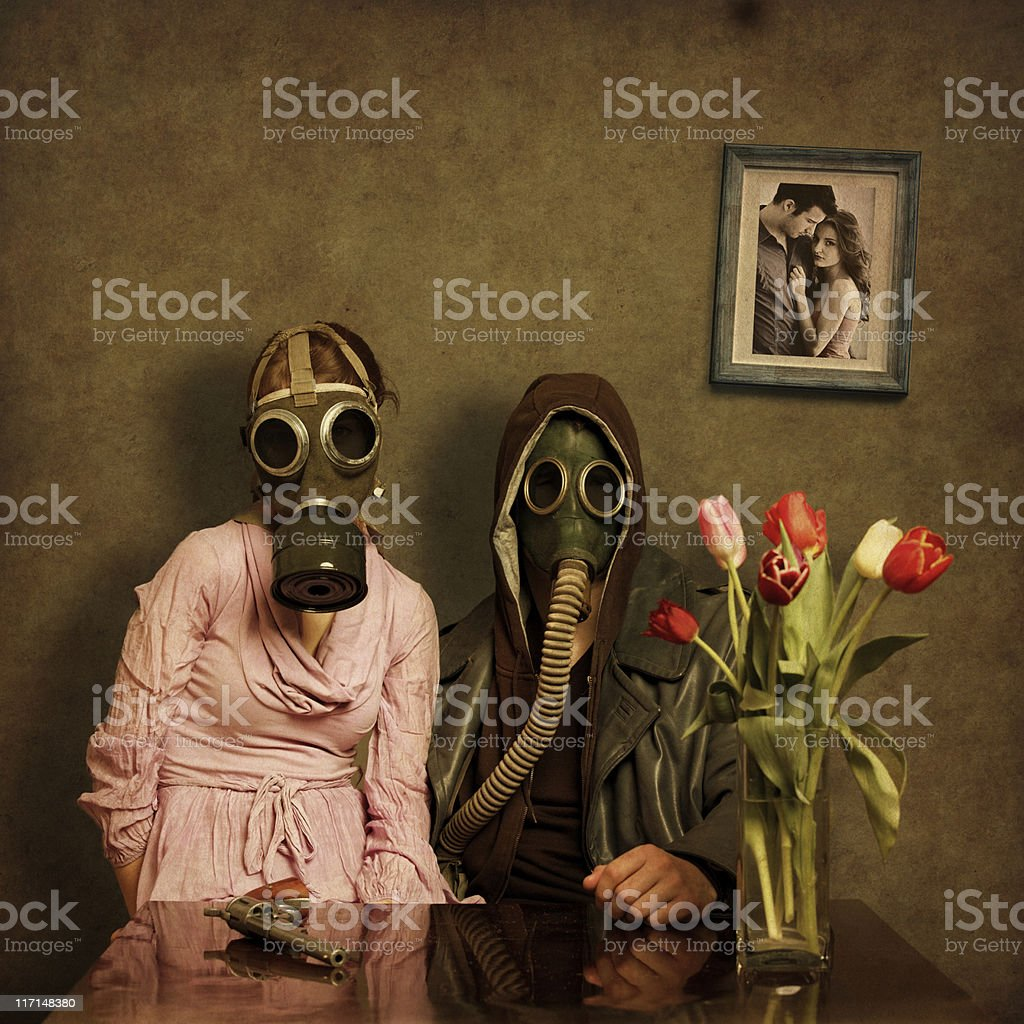 Post Apocalyptic Couple stock photo