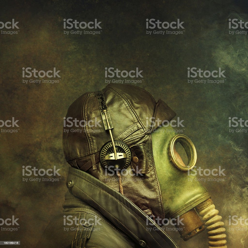 post apocalyptic survivor in gas mask royalty-free stock photo