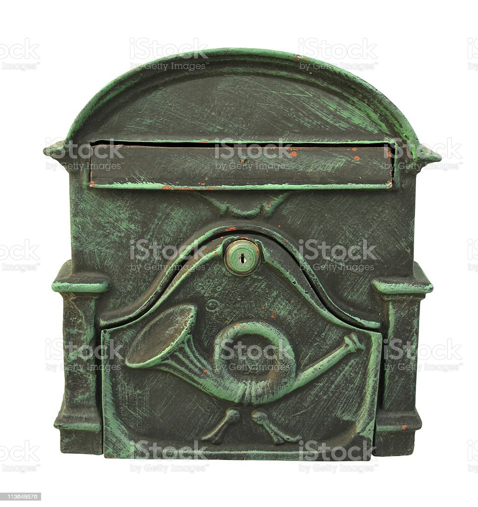 Post box green metal vintage with trumpet stock photo