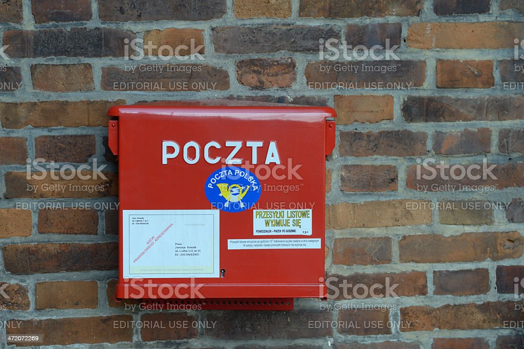 Post box in Krakow, Poland royalty-free stock photo