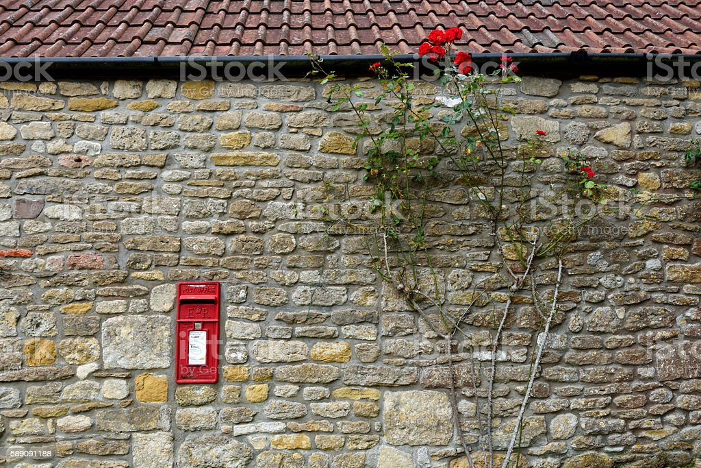 Post Box in wall stock photo