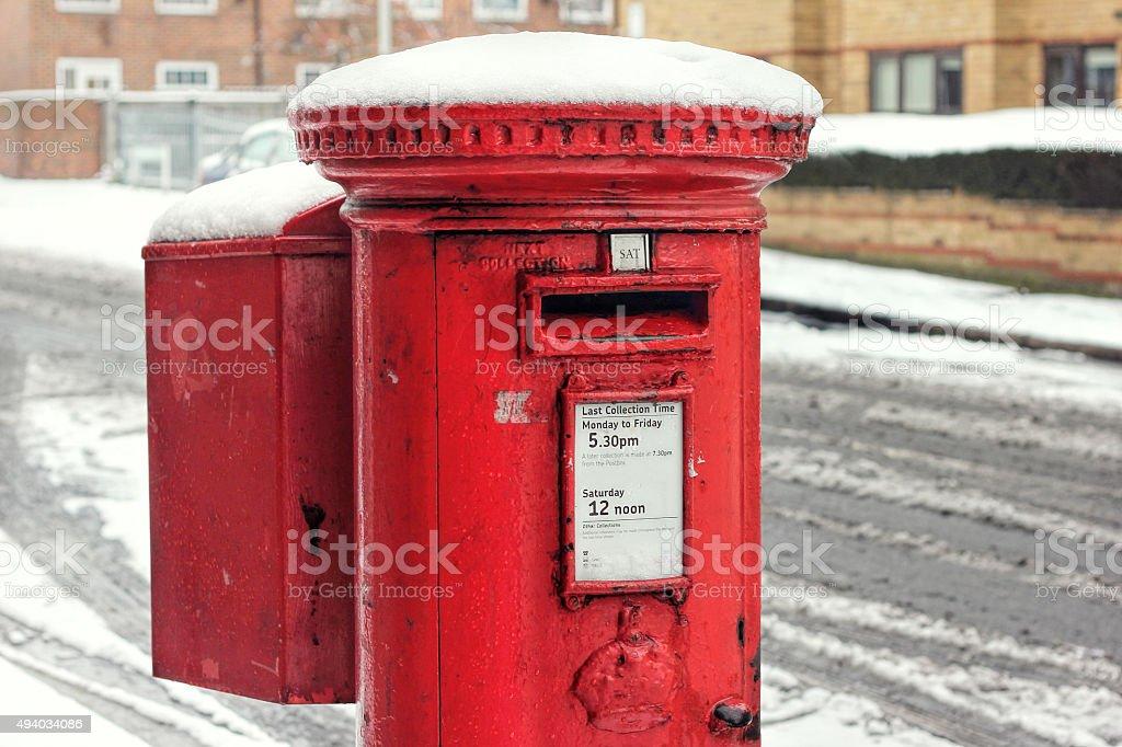 Post Box Snow. Royal Mail Winter stock photo