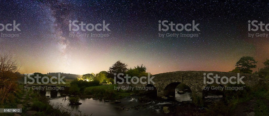 Post Bridge at Night - Dartmoor stock photo