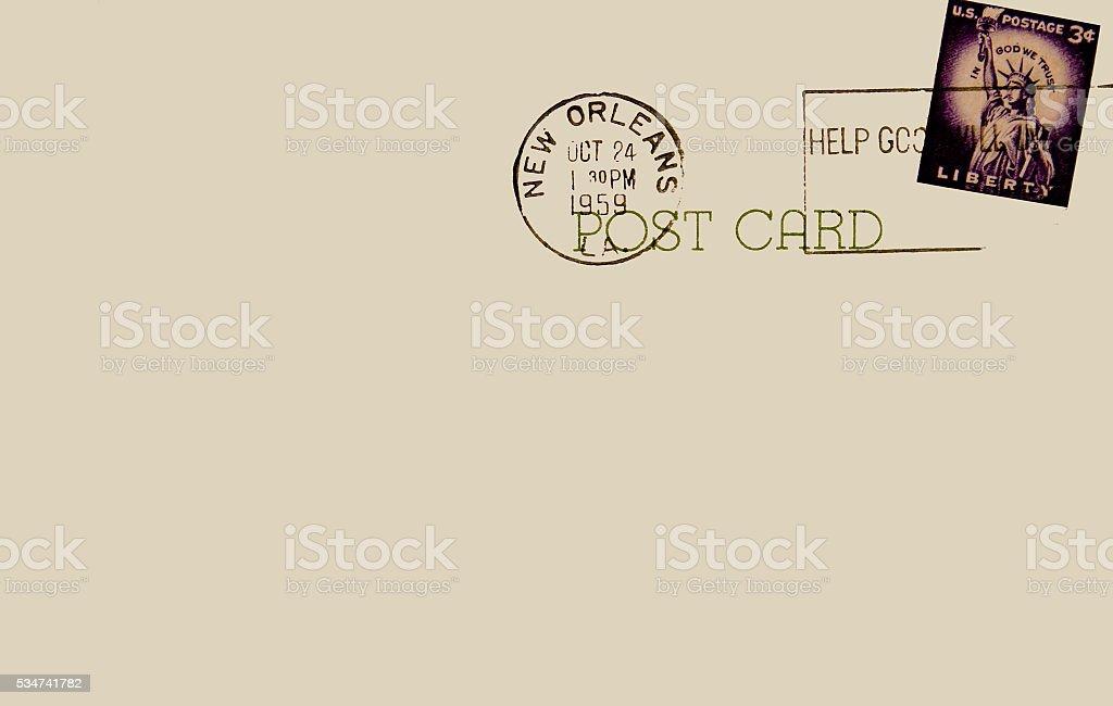 Post Card Back New Orlean Louisiana 1959 Postmark stock photo