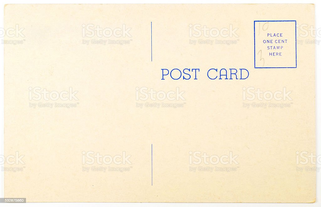 Post Card Back stock photo