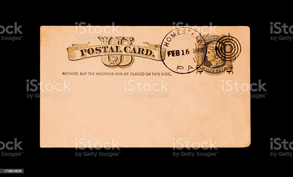 post card from 1888 stock photo