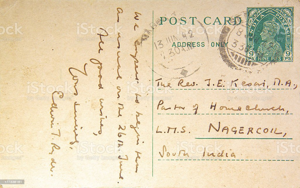 Post Card from Colonial India - 1942 stock photo