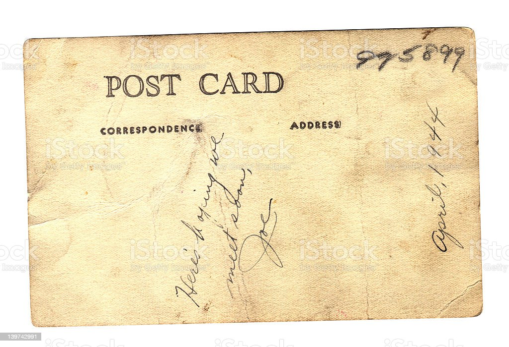 Post card from Joe WWII stock photo
