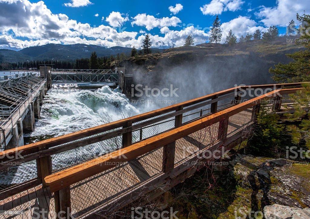 Post Falls Dam overlook. stock photo