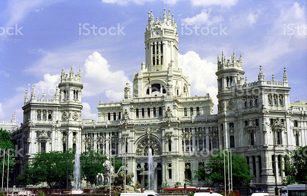 Post headquarters in Madrid royalty-free stock photo