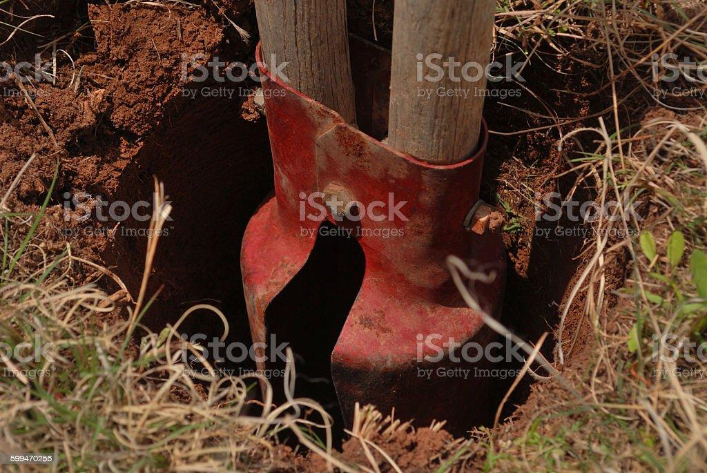 Post Hole Digger stock photo