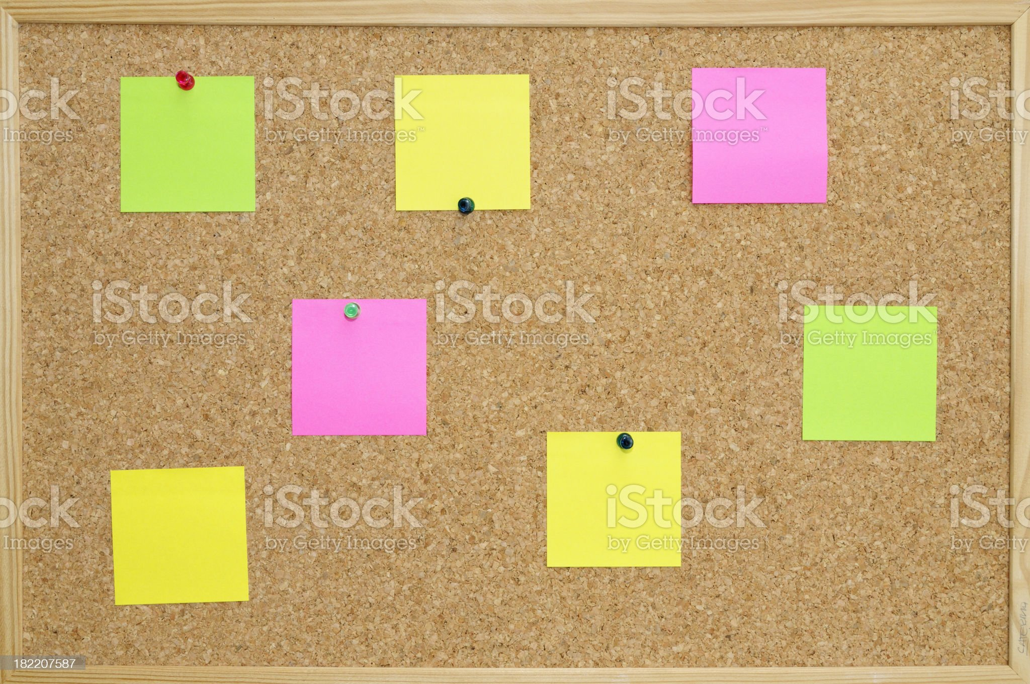 Post -it and pins royalty-free stock photo