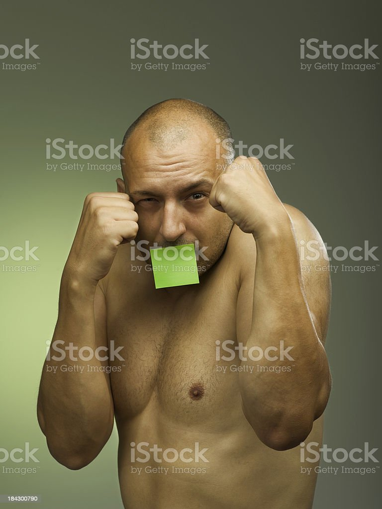 post it fighter stock photo