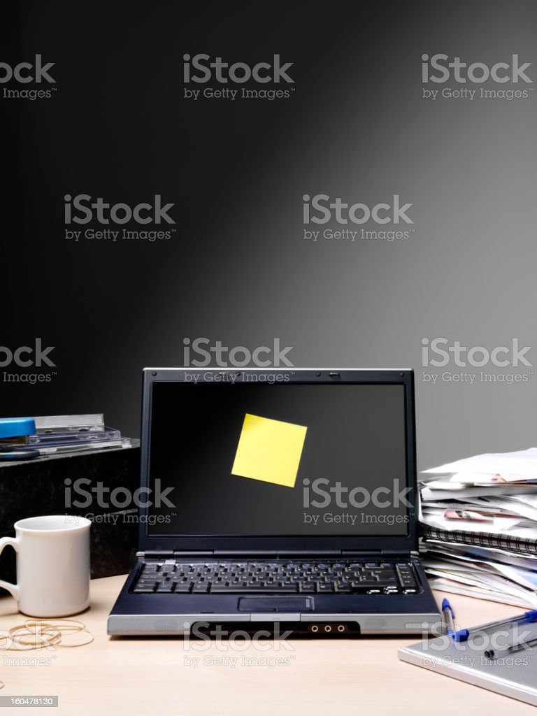 Post it note on a Computer stock photo