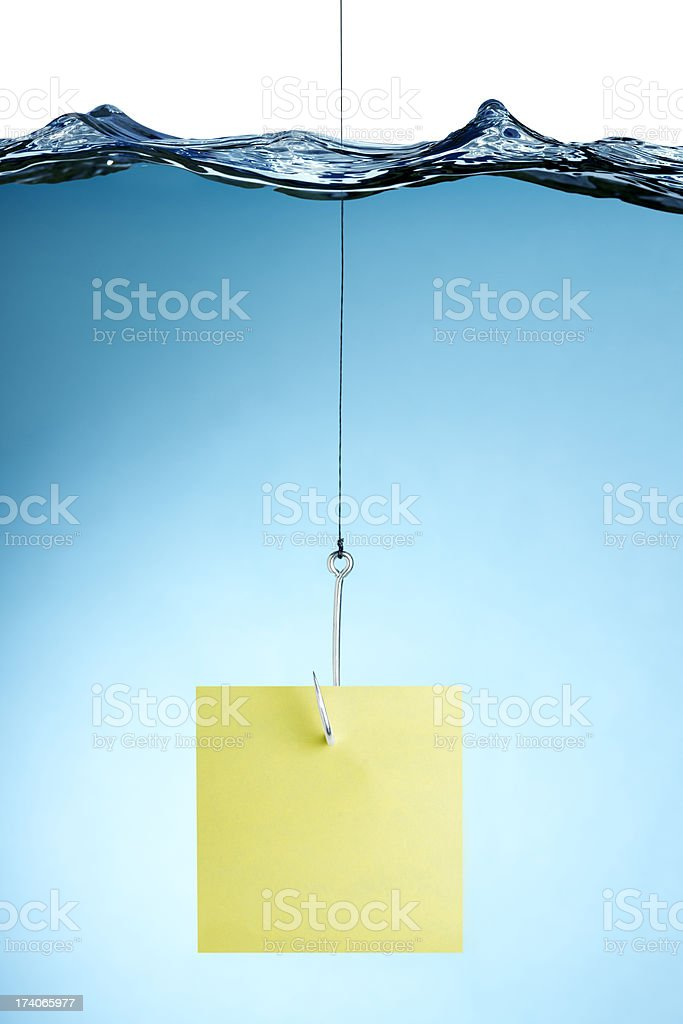Post it Note on a Fishing Line Under Water royalty-free stock photo