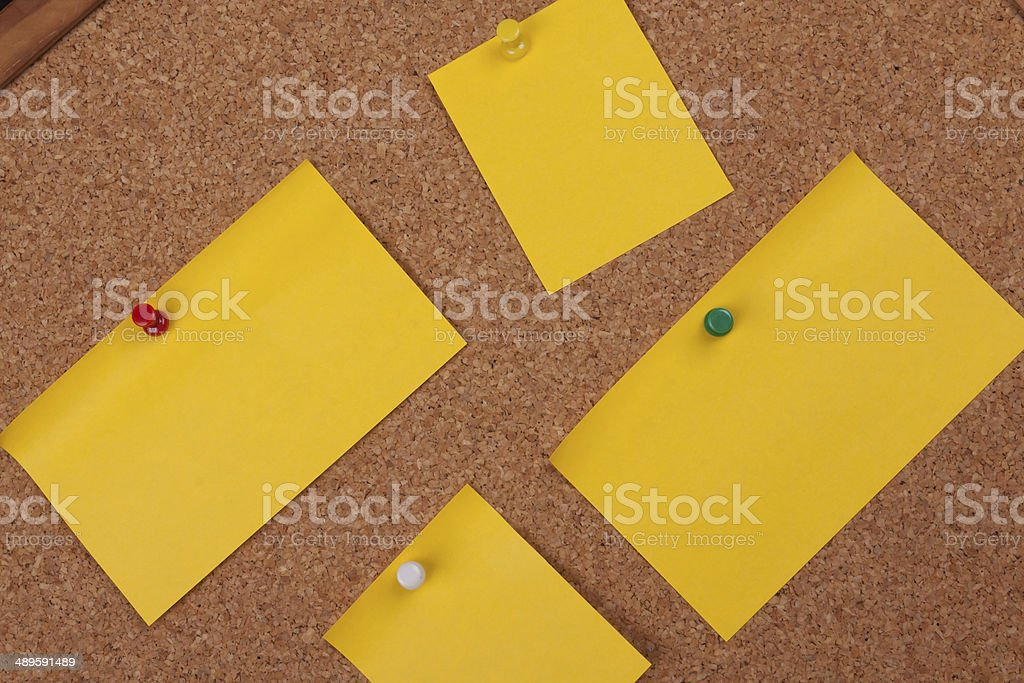 Post It Notes On Cork Board royalty-free stock photo