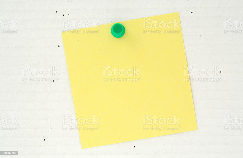 post it pinned to a grey cardboard background royalty-free stock photo