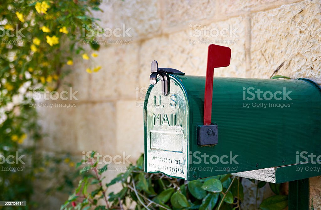 US post mail letter box with red flag stock photo