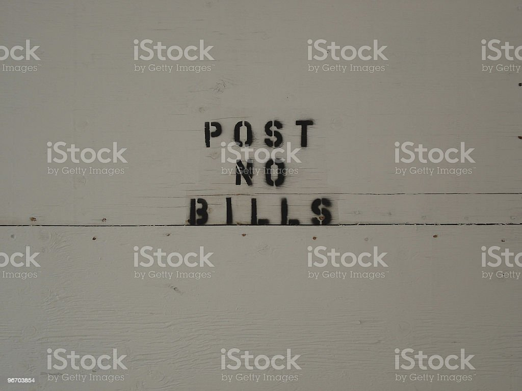 Post No Bills Sign royalty-free stock photo