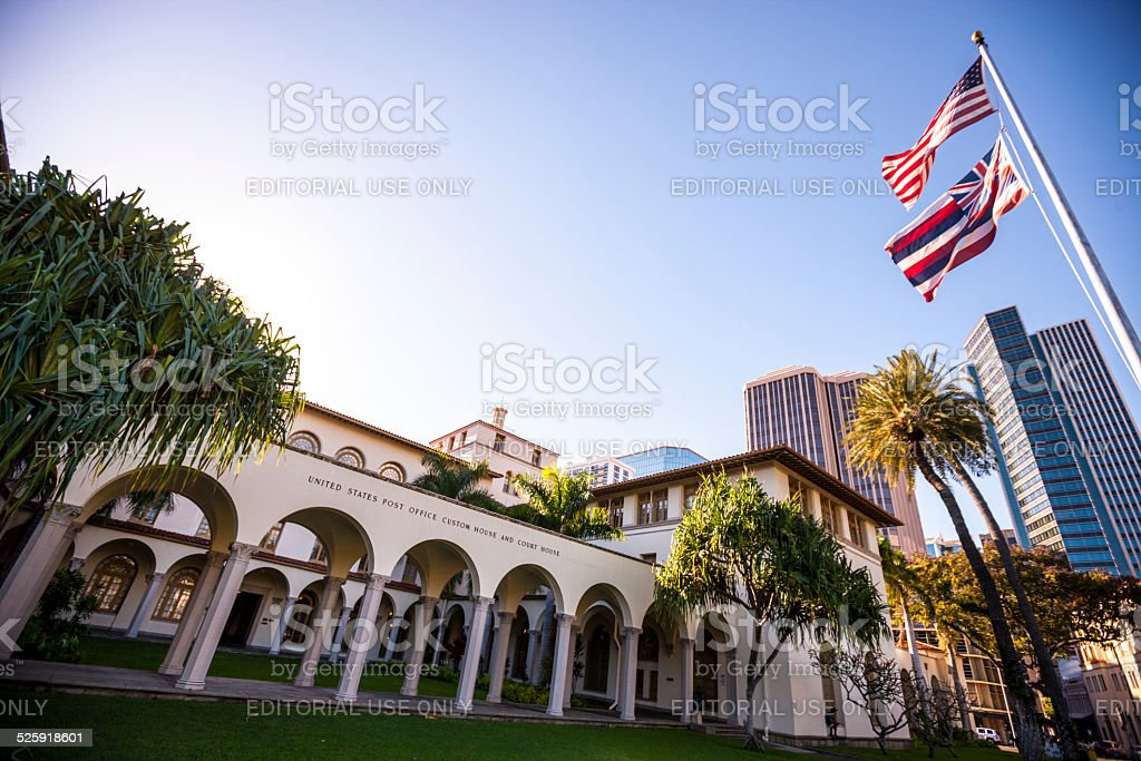 US post office, custom and court house, Honolulu, Hawaii stock photo