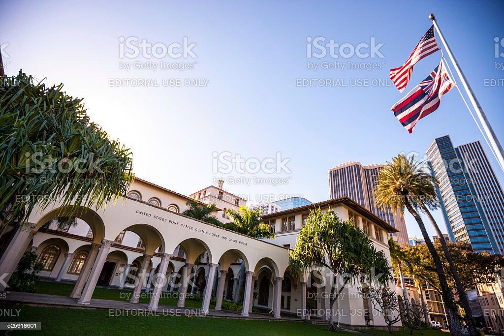 US post office, custom and court house, Honolulu, Hawaii stock photo