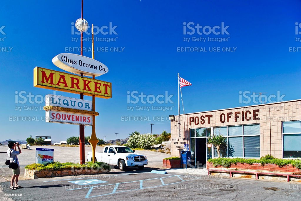 Post office in Shoshone village. stock photo