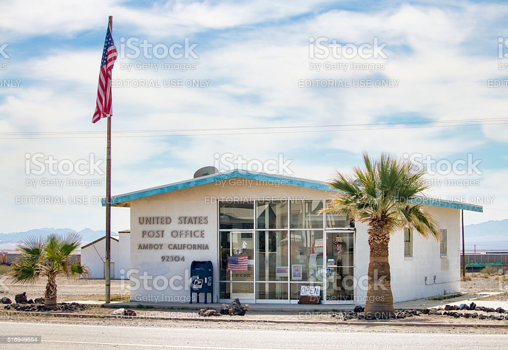 US Post Office in the Ghost Town of Amboy, California stock photo