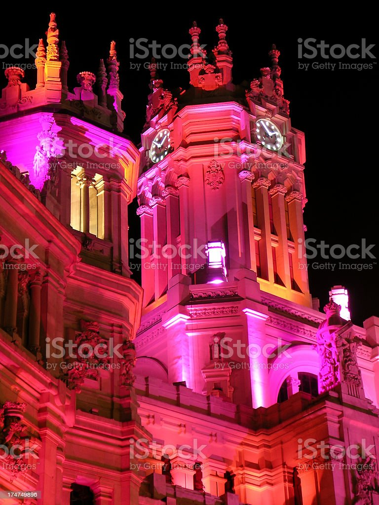 Post Office (Detail) - Madrid - Special Event Illumination 22M royalty-free stock photo