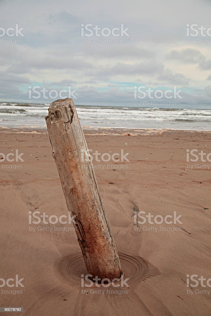 Post on the beach royalty-free stock photo