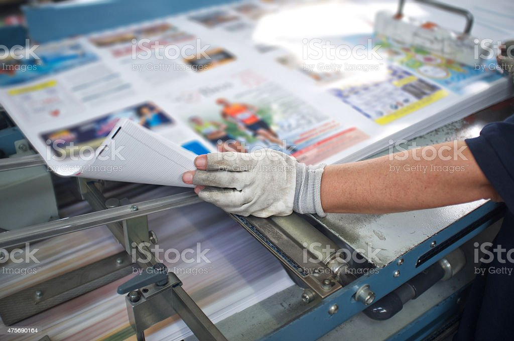 Post press finishing line machine stock photo