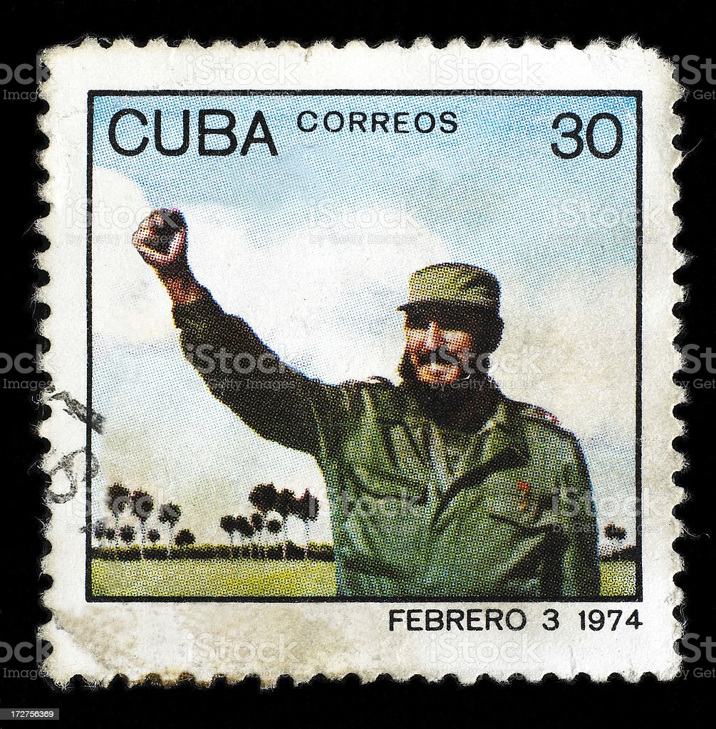 Post stamp with Fidel Castro stock photo