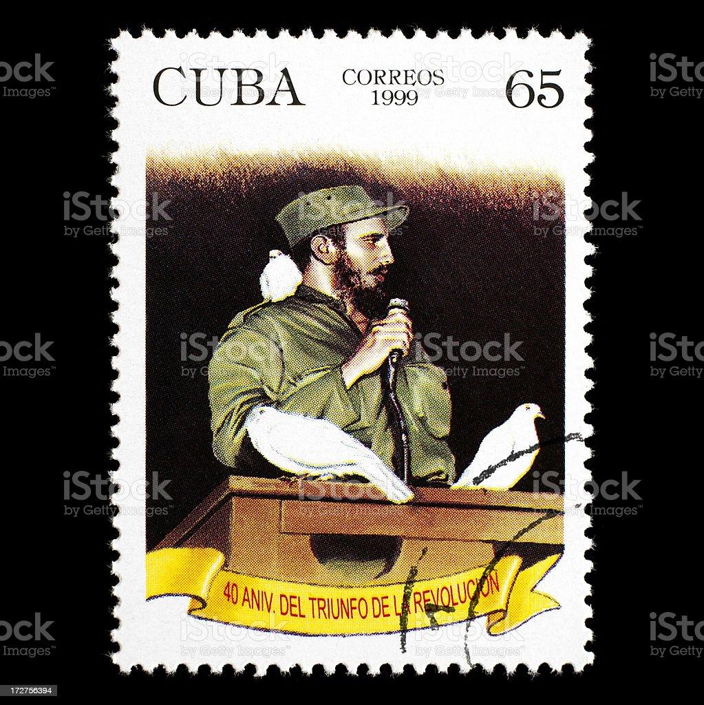 Post stamp with Fidel Castro stock photo